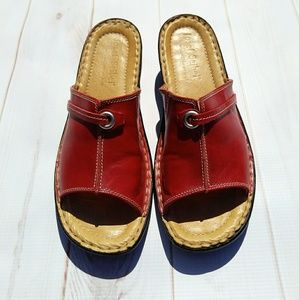 Josef Seibel red leather 8 10 sandals